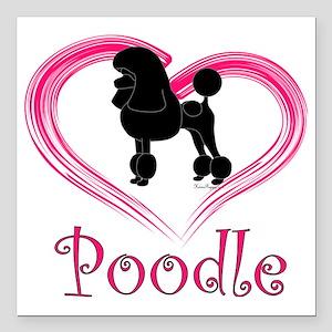 "PoodleSilhouetteHeart Square Car Magnet 3"" x 3"""