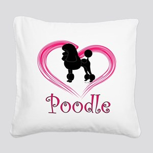 PoodleSilhouetteHeart Square Canvas Pillow