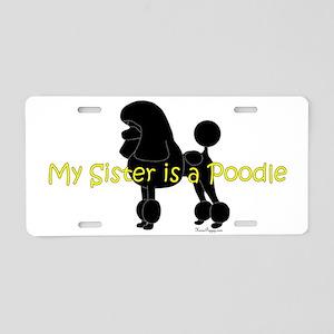 PoodleSilhouetteSister Aluminum License Plate
