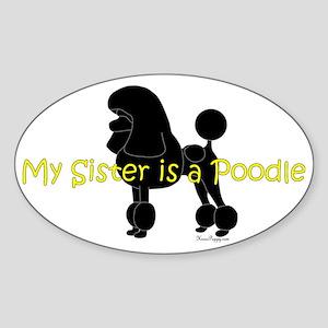 PoodleSilhouetteSister Sticker (Oval)