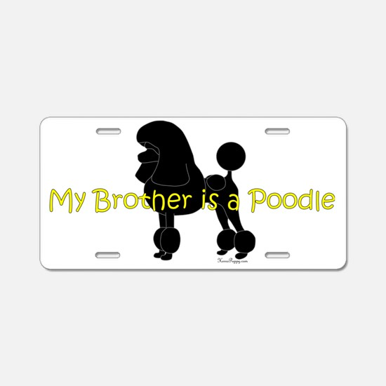 PoodleSilhouetteBrother Aluminum License Plate