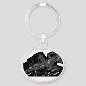 F16-Black Oval Keychain