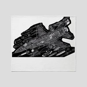 F16-Black Throw Blanket