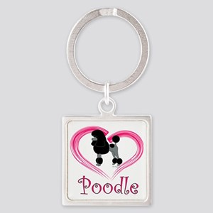 PoodleBlackHeart Square Keychain