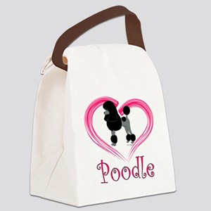 PoodleBlackHeart Canvas Lunch Bag
