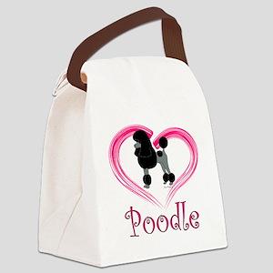 PoodleBlackHeart Canvas Lunch Bag