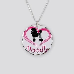 PoodleBlackHeart Necklace Circle Charm