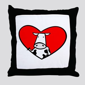 I Heart Cows Throw Pillow