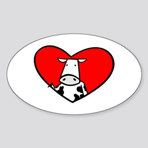 I Heart Cows Oval Sticker