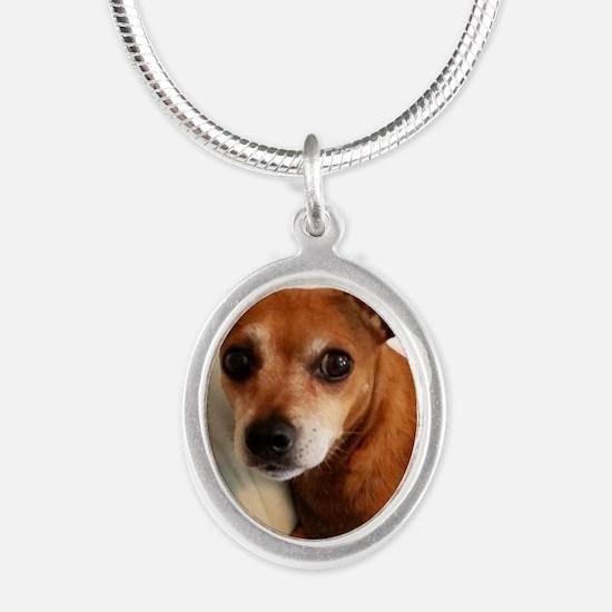 Unique Daschund Silver Oval Necklace