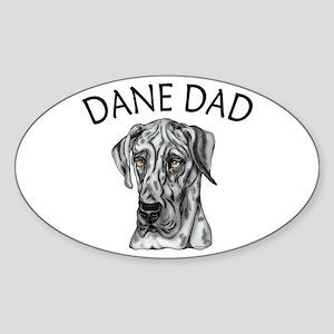 Great Dane Dad Merle UC Oval Sticker