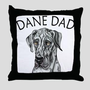 Great Dane Dad Merle UC Throw Pillow