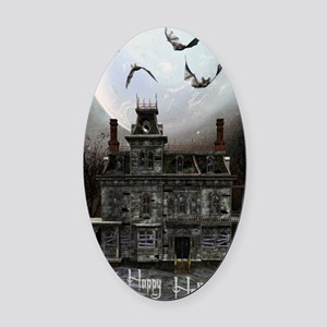haunted_house_3_greeting_card_192_ Oval Car Magnet