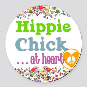 pillow-hippie-chick Round Car Magnet