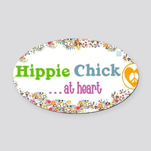 lg-hippie-chick Oval Car Magnet