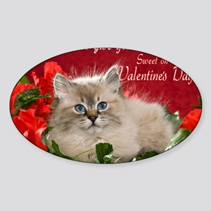 Valentines Card Front Sticker (Oval)