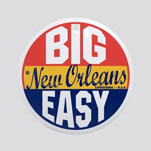 New Orleans Vintage Label B Round Ornament