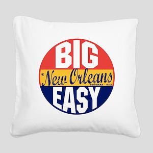 New Orleans Vintage Label B Square Canvas Pillow