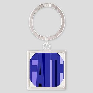 Faith Shades of Blue Square Keychain