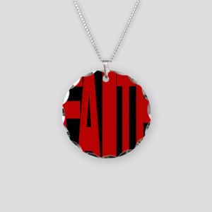 Faith Red and Black Oval Necklace Circle Charm