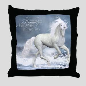 white_unicorn_stadium_blanket_h_front Throw Pillow