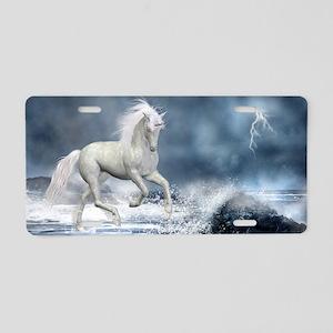 white_unicorn_car_magnet_20 Aluminum License Plate