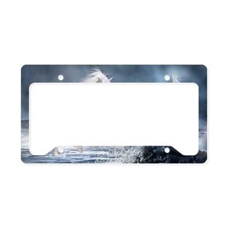 white_unicorn_car_magnet_20_m License Plate Holder