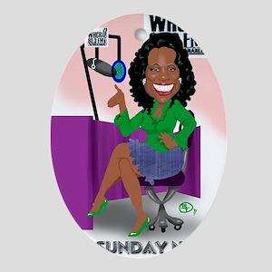 Tina @ Desk Cartoon Pic Oval Ornament