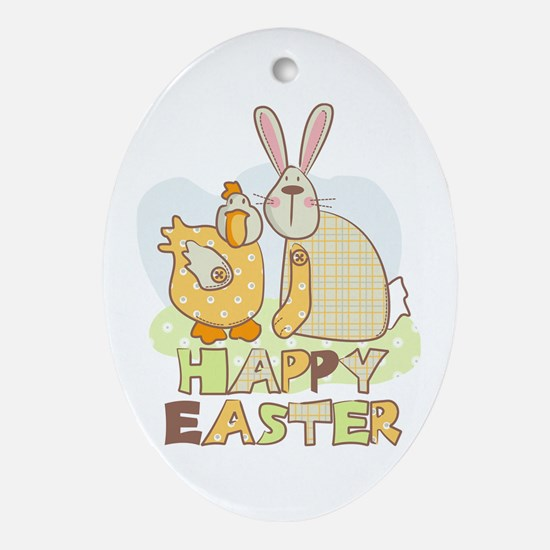 Happy easter friends Oval Ornament