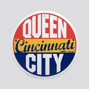 Cincinnati Vintage Label B Round Ornament