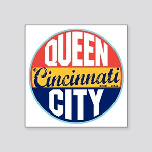 "Cincinnati Vintage Label W Square Sticker 3"" x 3"""