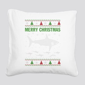 Shark Christmas Square Canvas Pillow