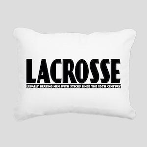 Lacrosse Beating People Rectangular Canvas Pillow