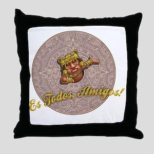 mayan-cal-toon2-T Throw Pillow