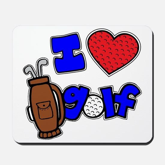 I love golf, on black RB2 grapic Mousepad