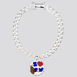 I love golf, on black RB Charm Bracelet, One Charm
