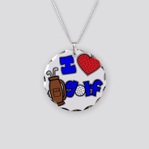 I love golf, on black RB2 gr Necklace Circle Charm