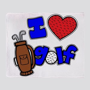 I love golf, on black RB2 grapic Throw Blanket