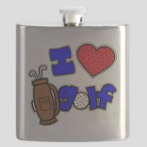 I love golf, on black RB2 grapic Flask