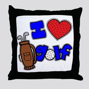 I love golf, on black RB2 grapic Throw Pillow