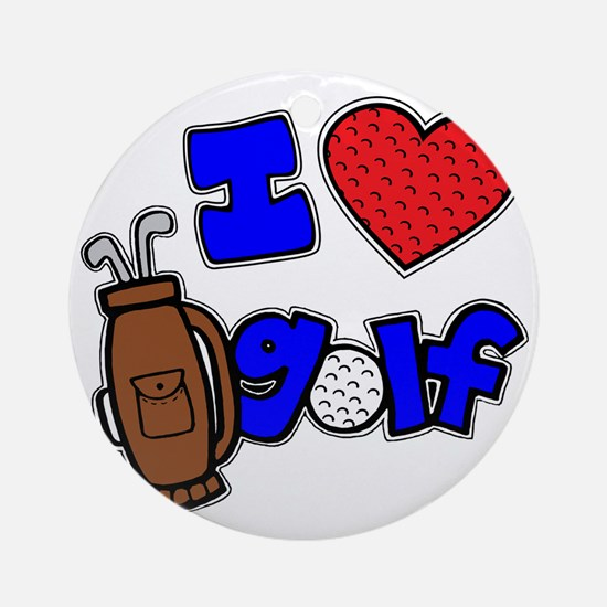 I love golf, on black RB2 grapic Round Ornament