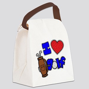 I love golf, on black RB2 grapic Canvas Lunch Bag
