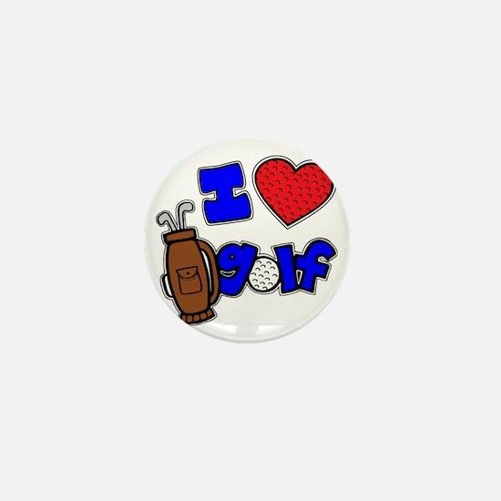 I love golf, on black RB2 grapic Mini Button