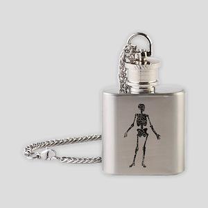 distressed skeleton2 Flask Necklace