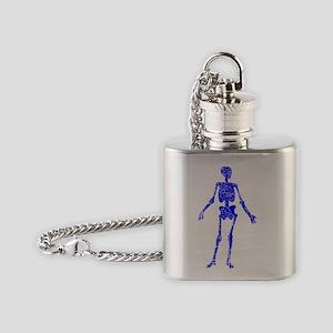Skeleton, Vintage Blue Flask Necklace