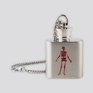 distressed red skeleton Flask Necklace