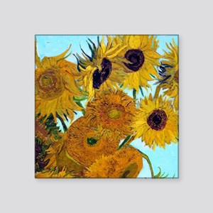 "Pillow VG Sunflowers Square Sticker 3"" x 3"""
