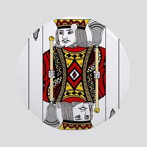 Lacrosse King of Spades Ornament (Round)