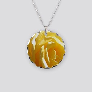 Yellow Rose.of Texas Necklace Circle Charm
