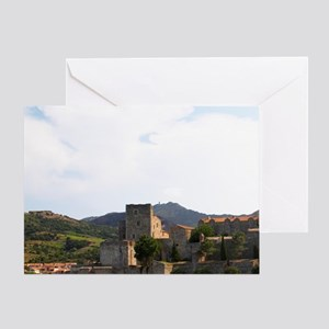 The beach in the village. The chatea Greeting Card